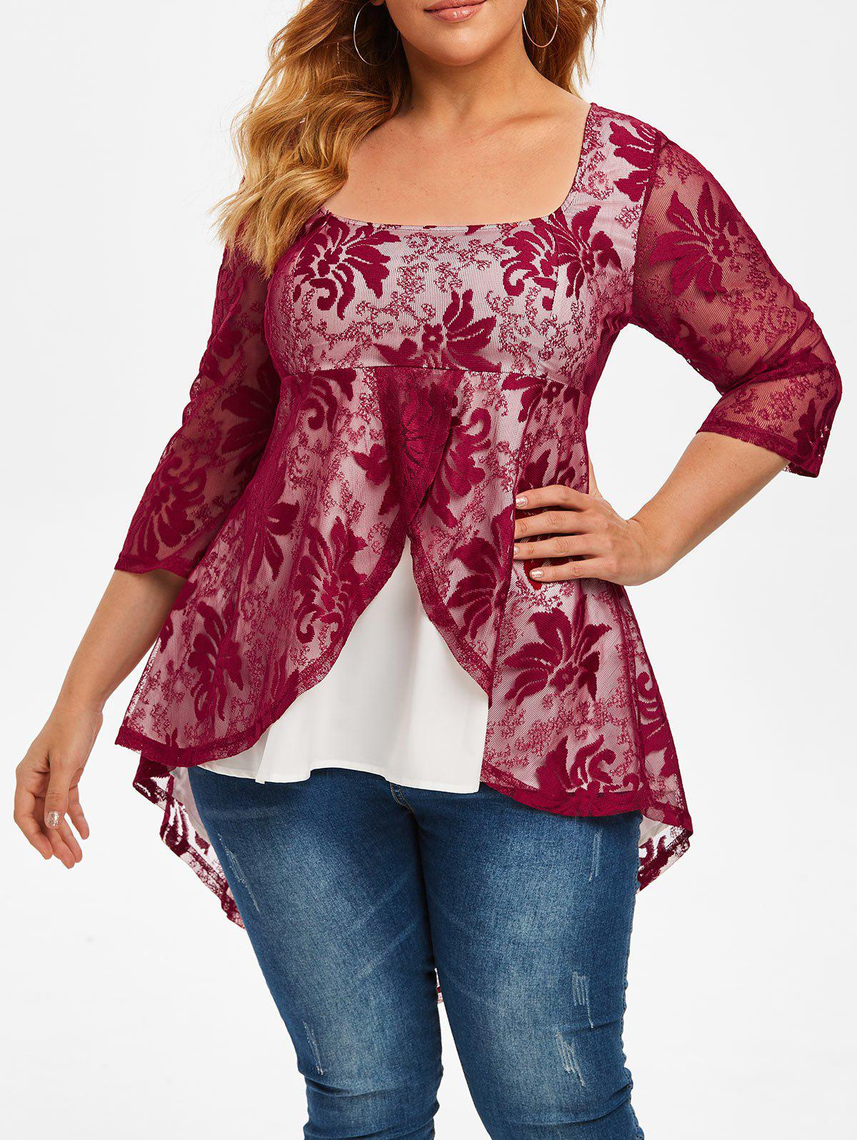 Plus Size Lace Overlay High Low Tail Blouse - RED WINE 1X