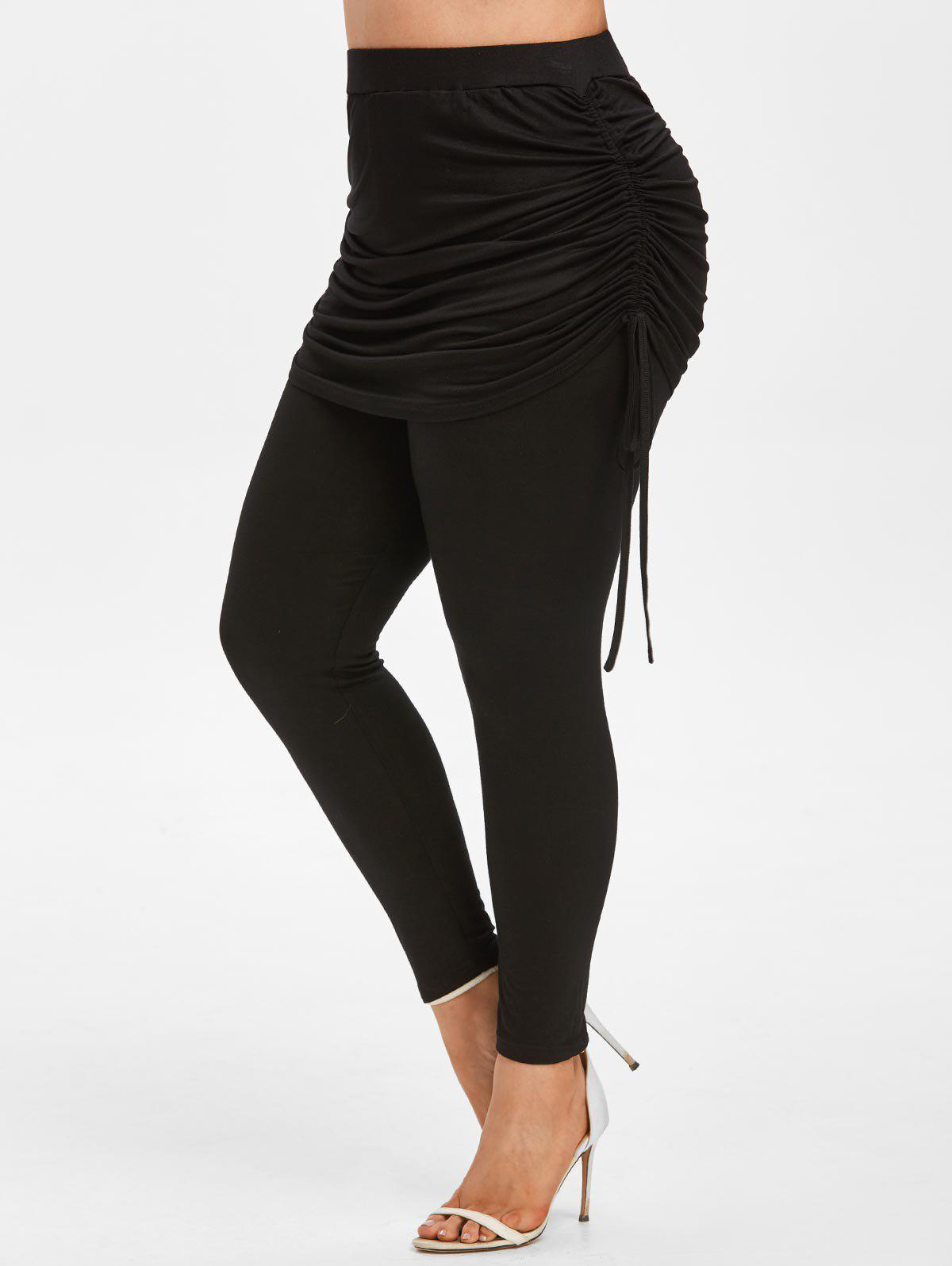Plus Size Cinched Skirted Pants - BLACK 4X