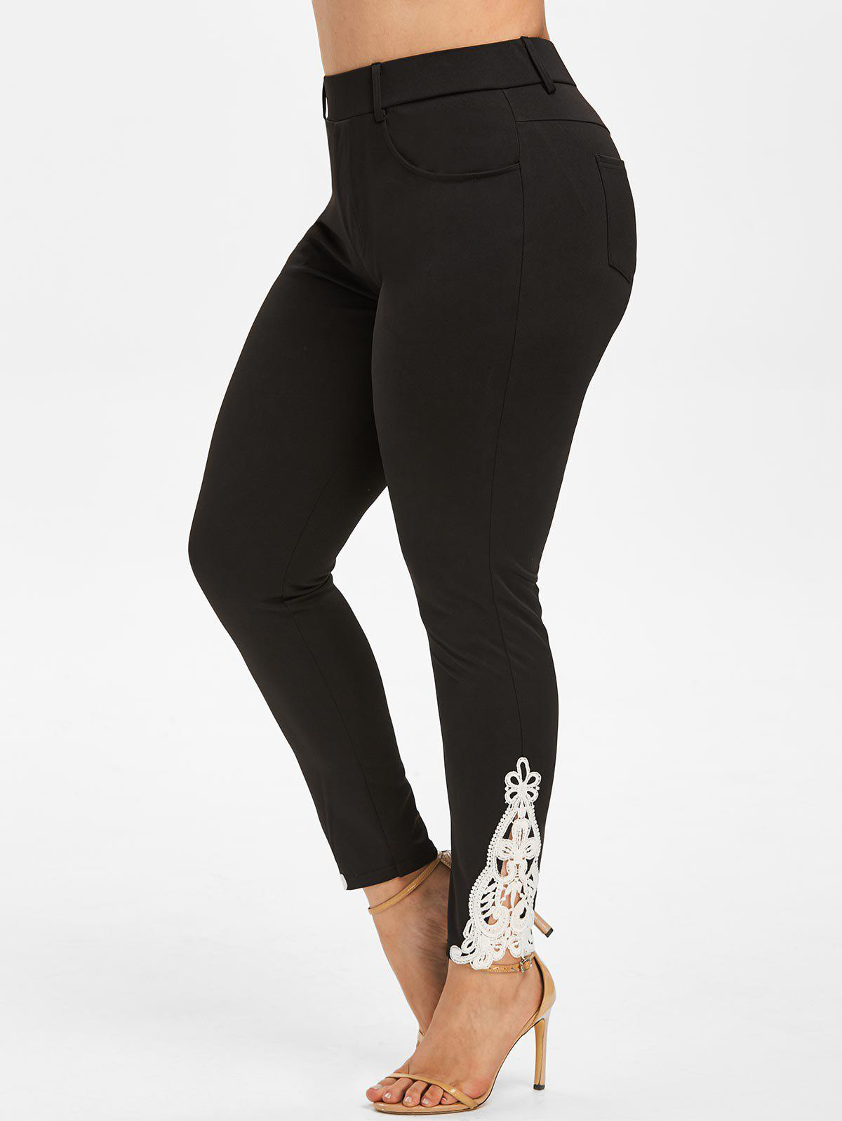 Plus Size Contrast Lace Tapered Pants - BLACK L