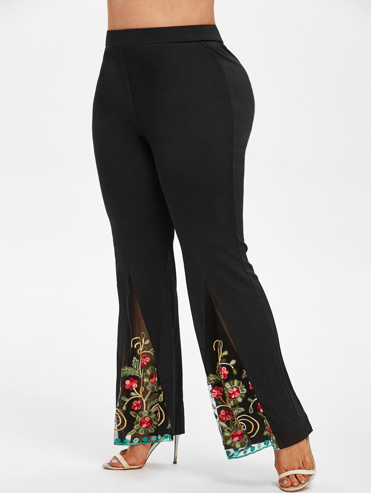 Plus Size Embroidered Mesh Flare Pants - BLACK 5X