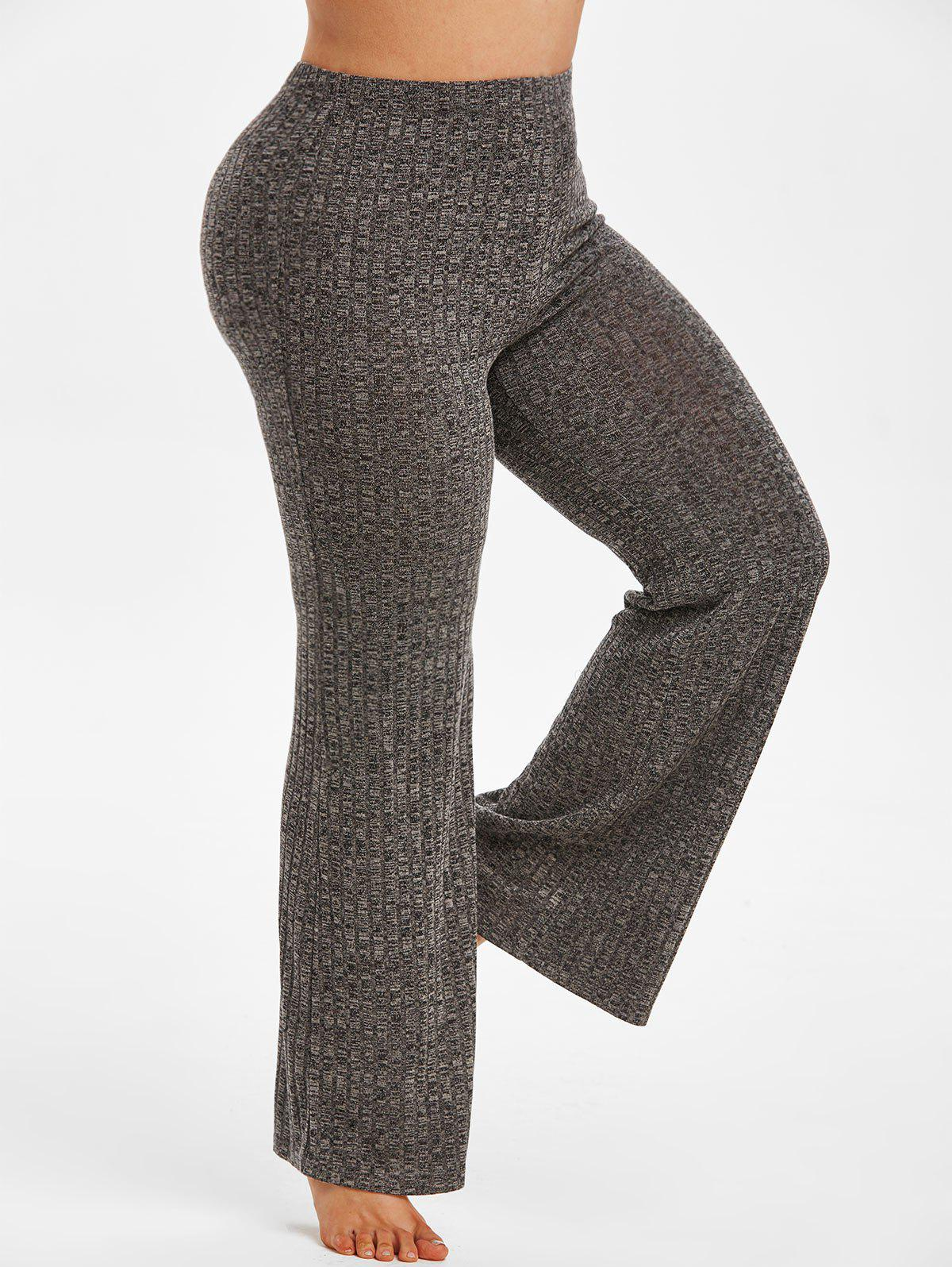 Plus Size Heathered Knitted Pajamas Pants - CARBON GRAY 5X