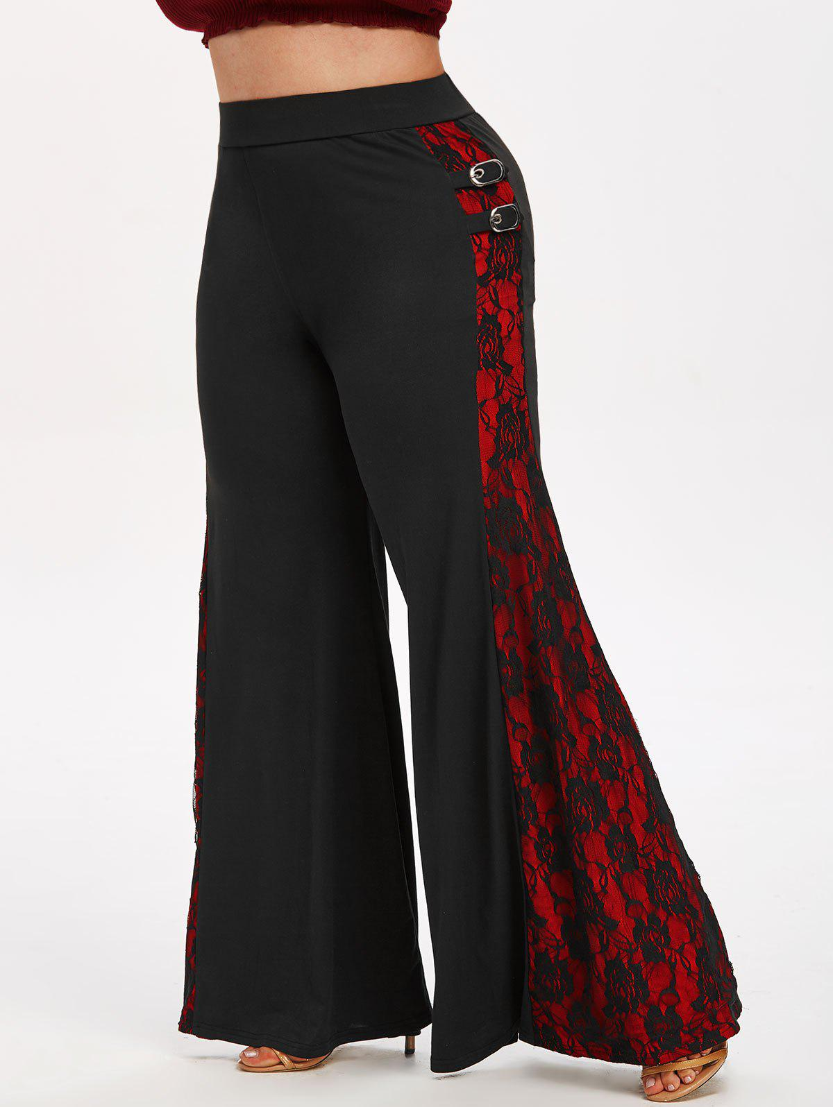 Plus Size Buckle Lace Insert Halloween Flare Pants - BLACK 5X