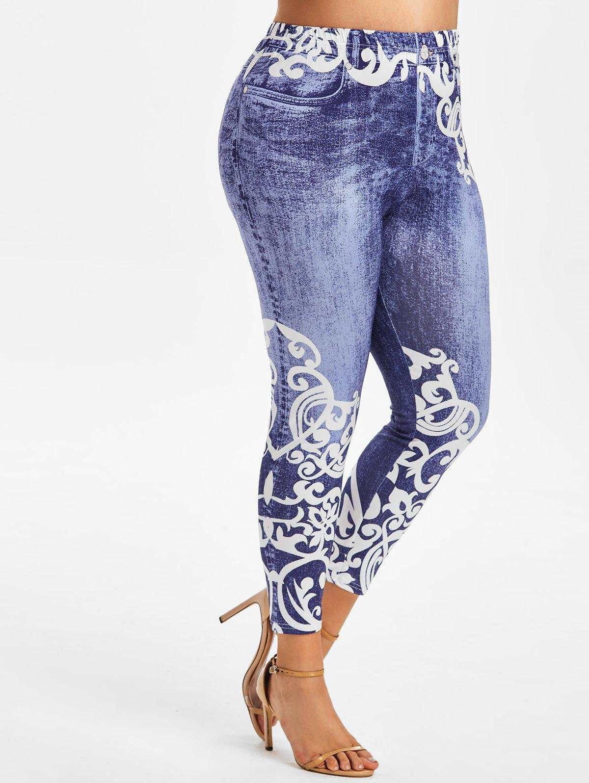 Plus Size Anthemion 3D Jean Pattern High Rise Jeggings - DEEP BLUE 5X