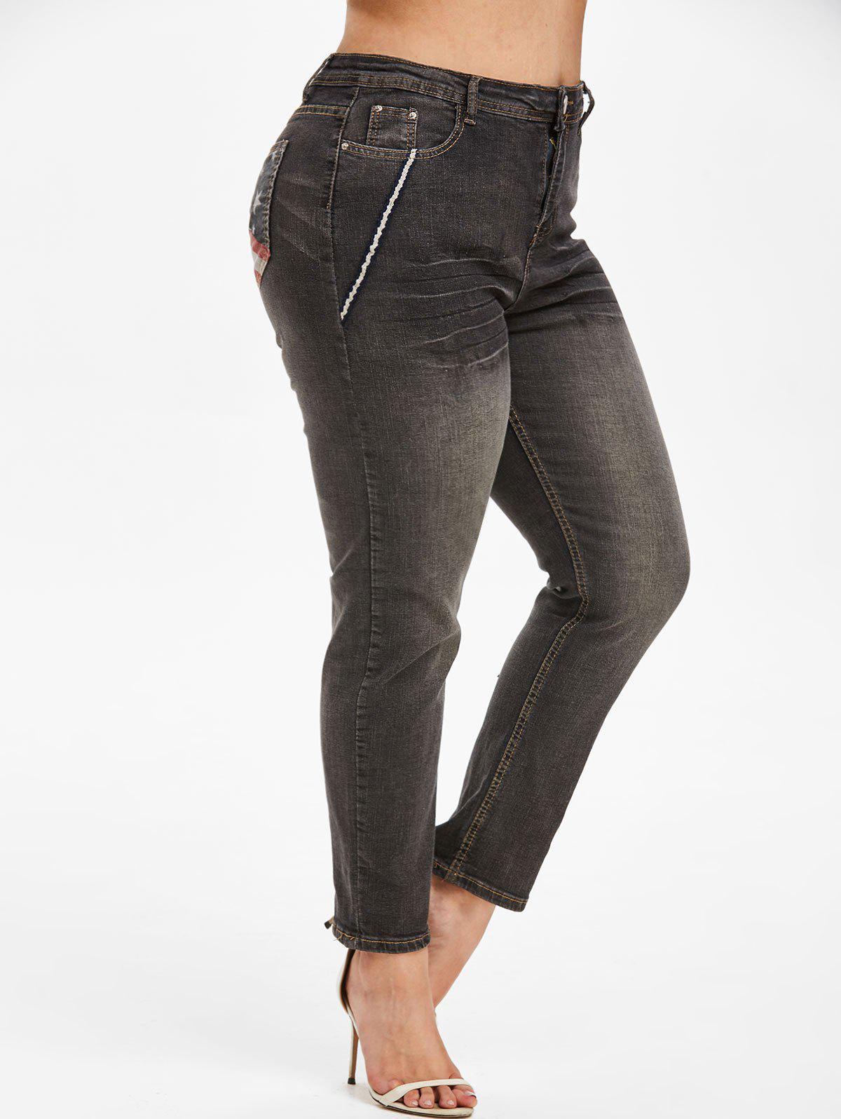 American Flag Contrast Trim Plus Size Stovepipe Jeans - BLACK 4XL