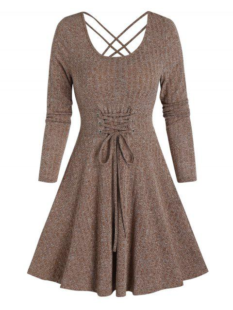 Lace-up Front Heathered Ribbed Dress