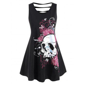 Plus Size Ladder Cutout Floral Skull Print  Tank Top