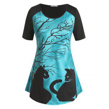 Plus Size Cat Branch Print Short Sleeve Tee