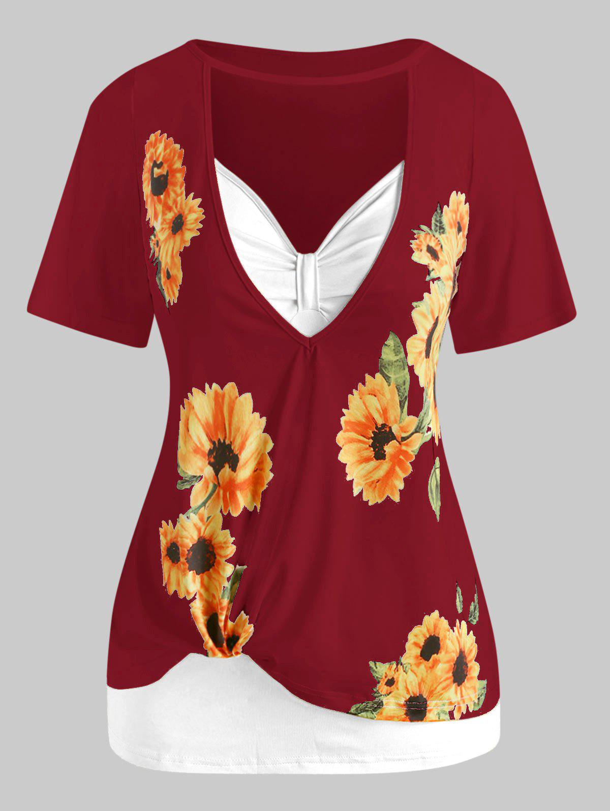 Plus Size Sunflower Print Cutout Tee and Tank Top Set - DEEP RED 5X