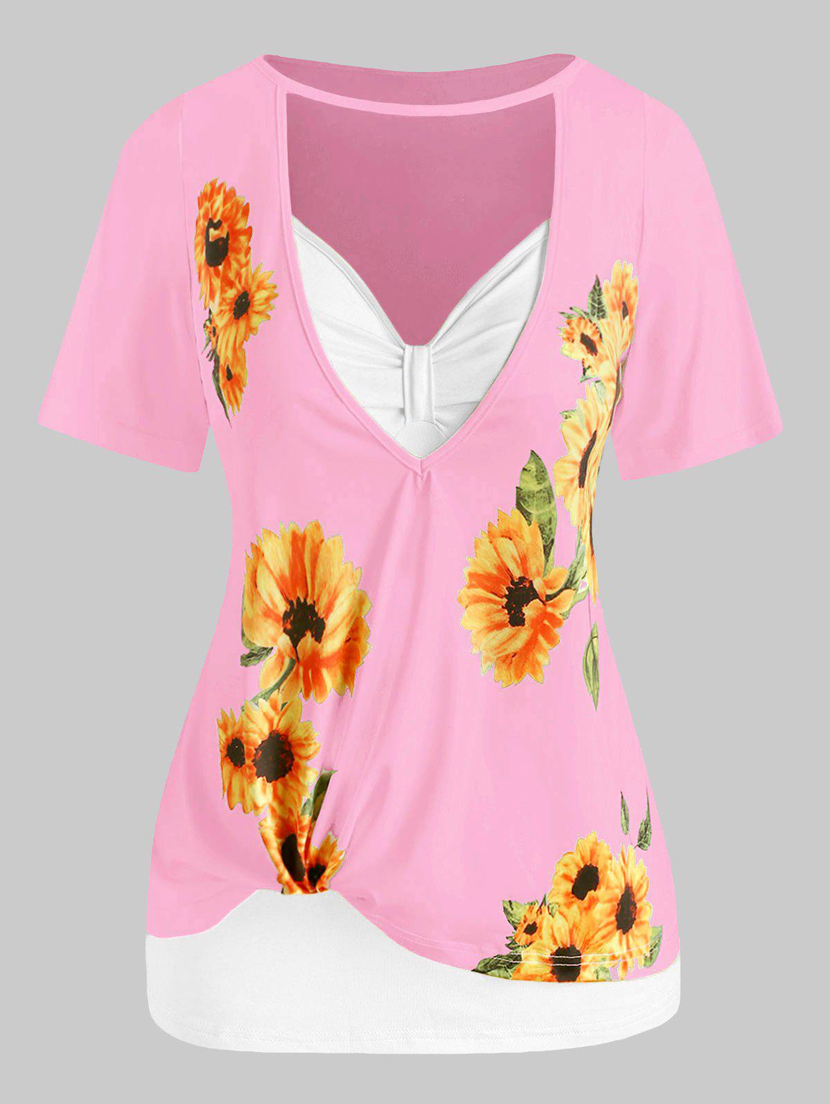 Plus Size Sunflower Print Cutout Tee and Tank Top Set - LIGHT PINK 4X