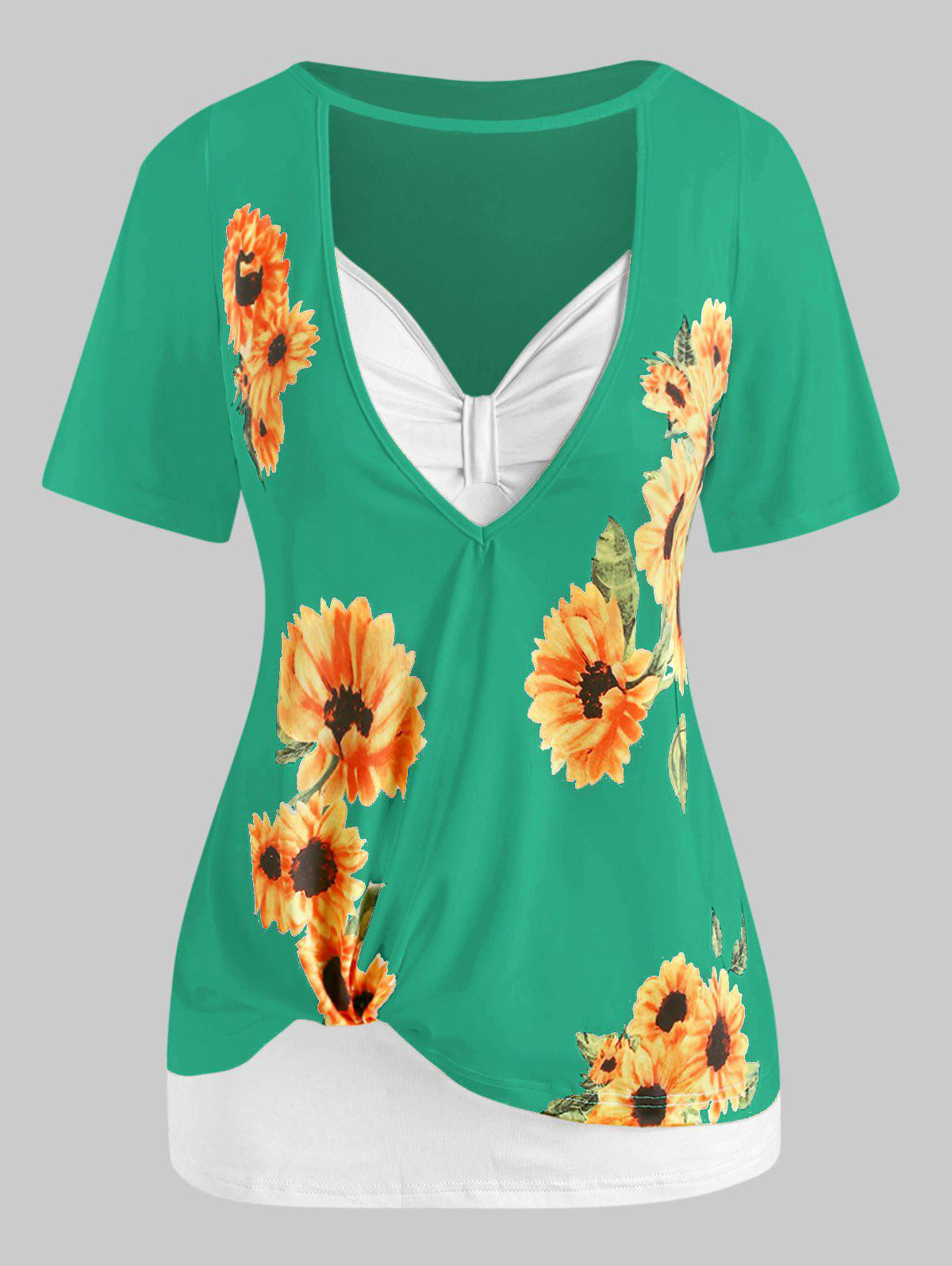 Plus Size Sunflower Print Cutout Tee and Tank Top Set - GREEN L