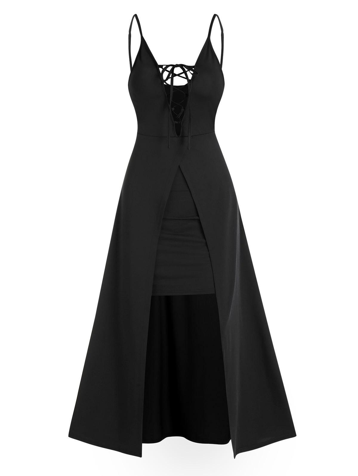 Spaghetti Strap Lace-up Slit Front Prom Dress - BLACK 3XL