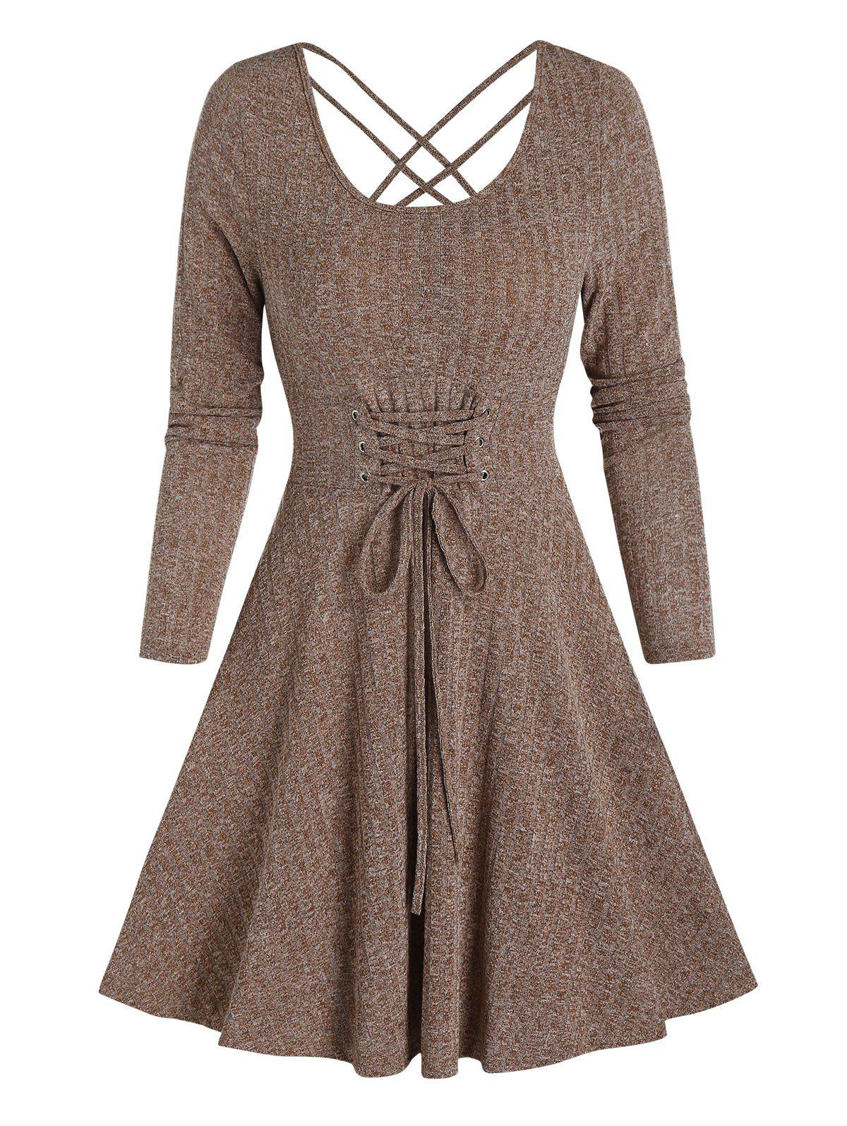 Lace-up Front Heathered Ribbed Dress - COFFEE L