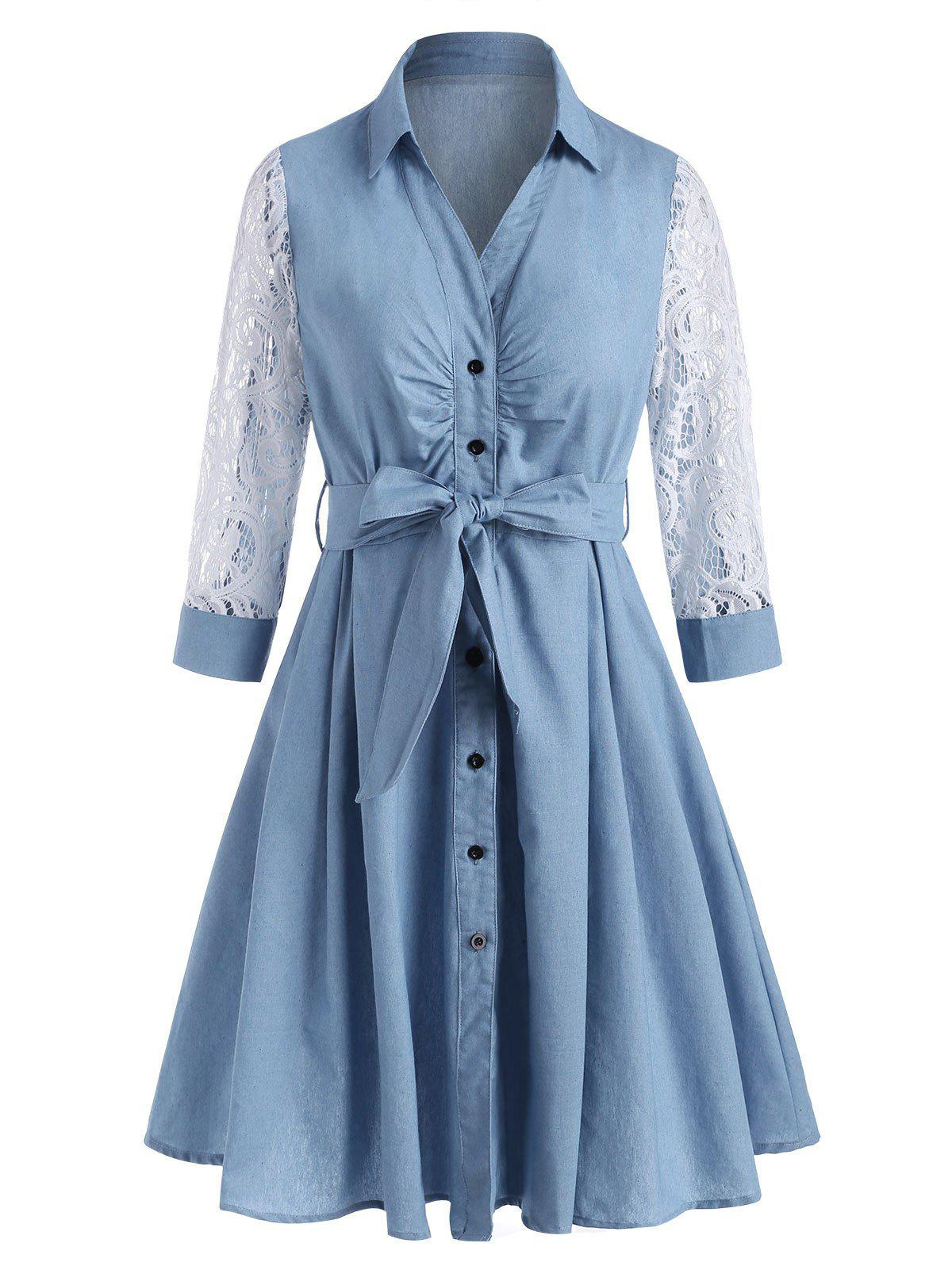 Lace Sleeve Chambray Belt Shirt Dress - LIGHT BLUE M