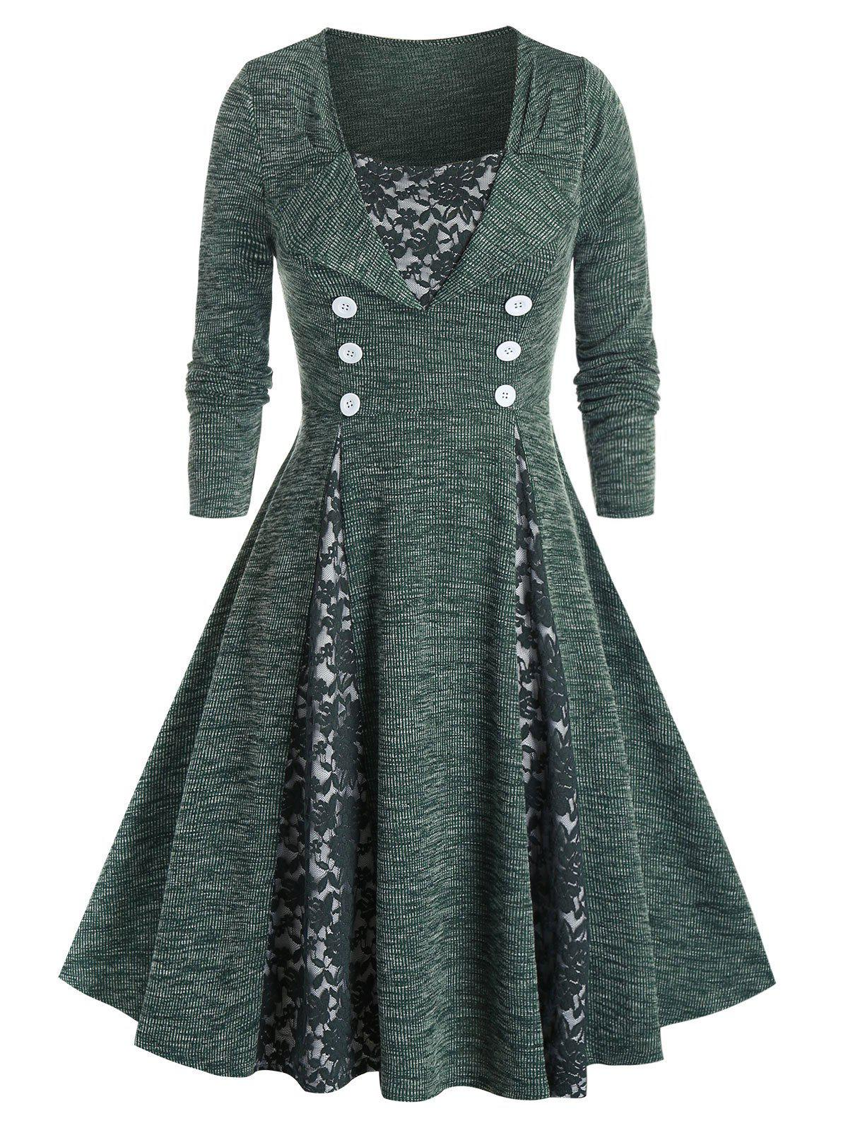 Plus Size Lace Insert Sailor Button Knitted Dress - DEEP GREEN 2X