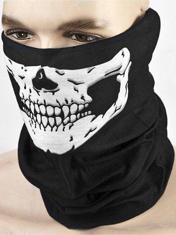 Halloween Skull Pattern Riding Face Mask Scarf - BLACK