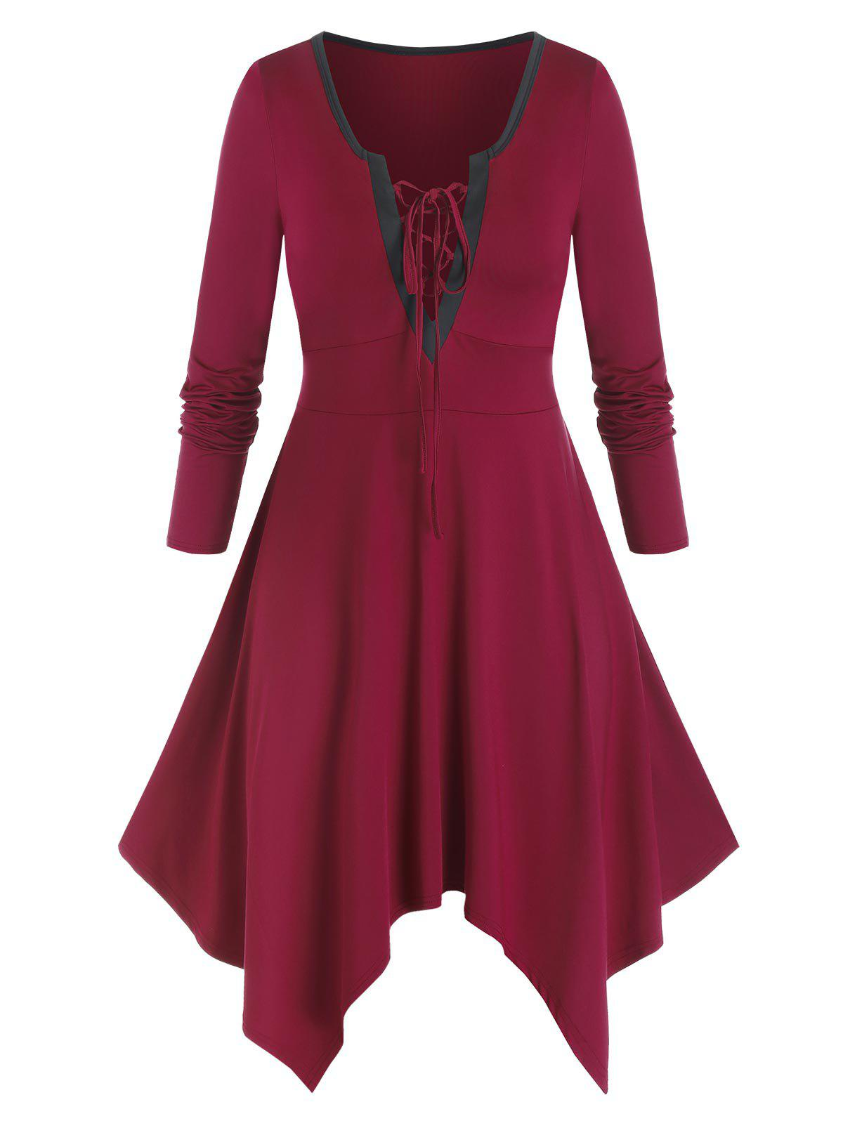 Plus Size Handkerchief Lace-up Long Sleeve Tee Dress - RED WINE 2X