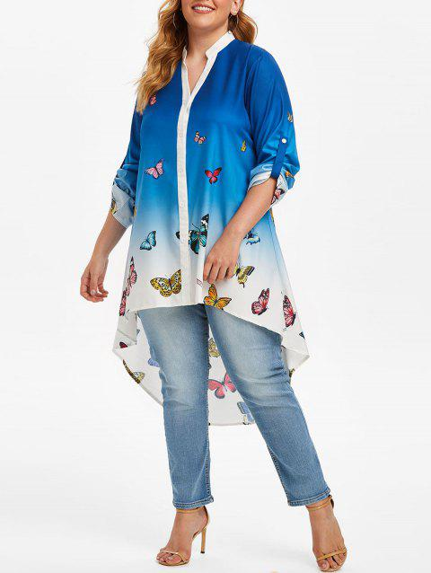 Plus Size Roll Up Sleeve Butterfly Print Ombre Blouse