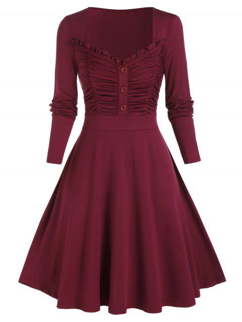 Plus Size Shirred Ruched Long Sleeve Frilled Dress