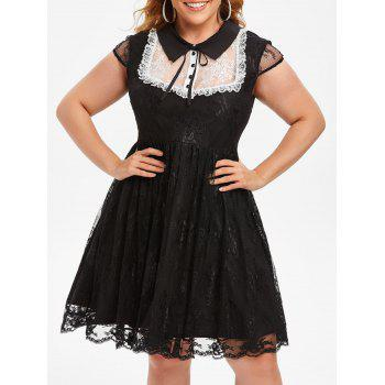 Cap Sleeve Tie Collar Mock Buttons Lace Plus Size Dress