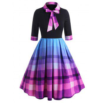 Bow Tie Plaid Cuffed Sleeve Plus Size Dress