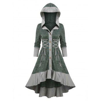Button Up Hooded Knitted High Low Dress
