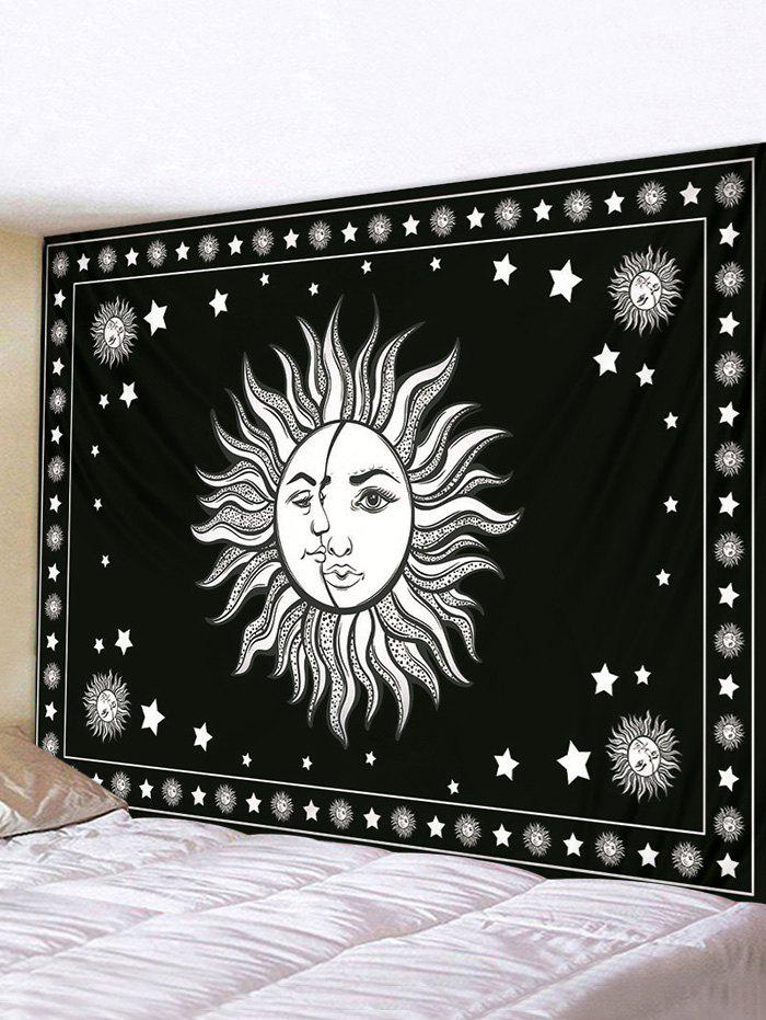 Digital Printing Moon And Sun Waterproof Tapestry - BLACK W91 X L71 INCH