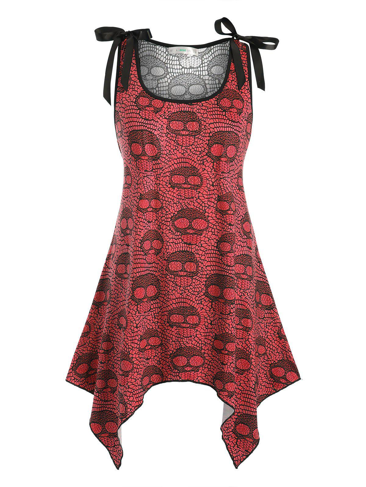 Lace Panel Bowknot Skull Halloween Plus Size Tank Top - RED L