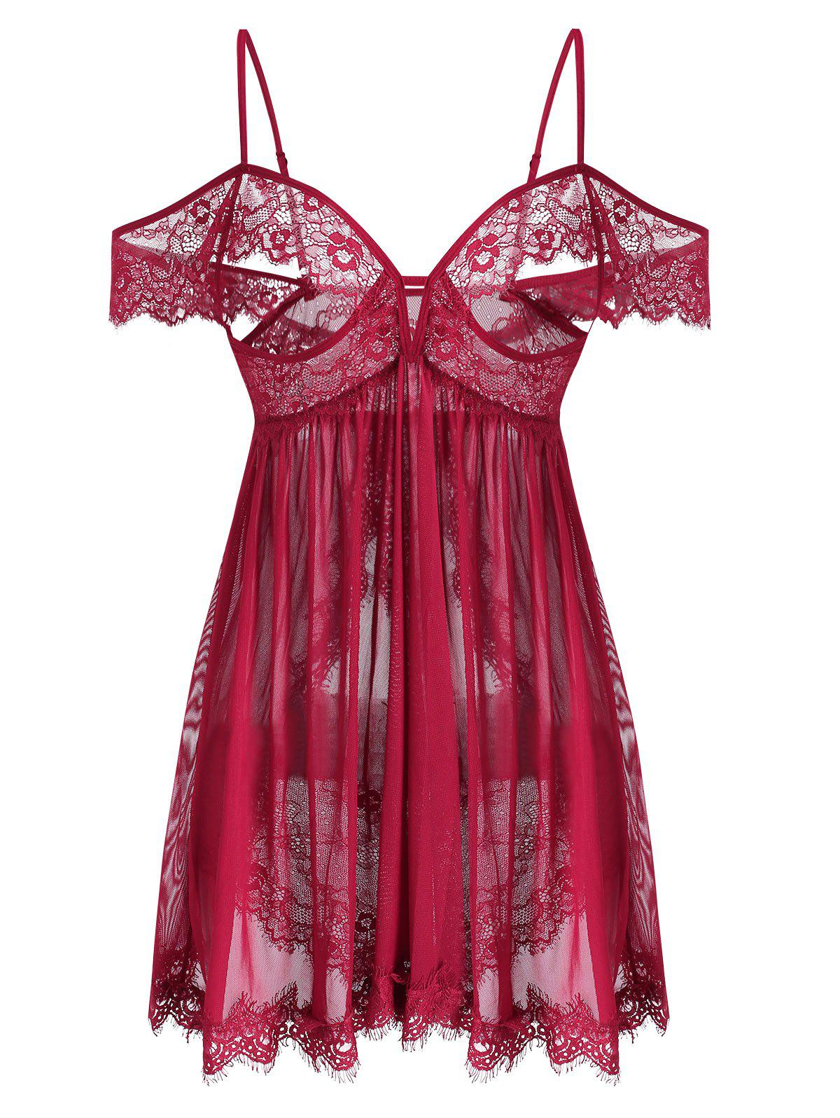 Open Cup Cold Shoulder Lace Sheer Mesh Plus Size Lingerie Babydoll - RED XL