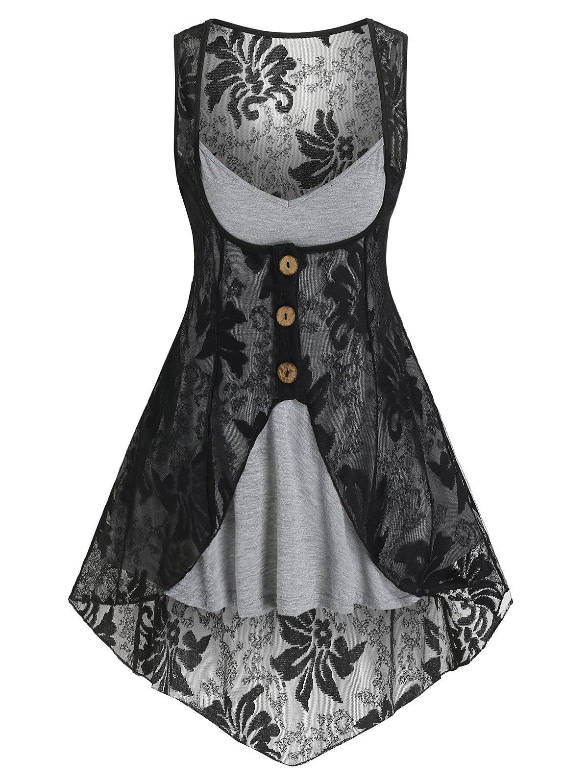Heathered Flare Cami Top and Flower Lace Vest - LIGHT GRAY M