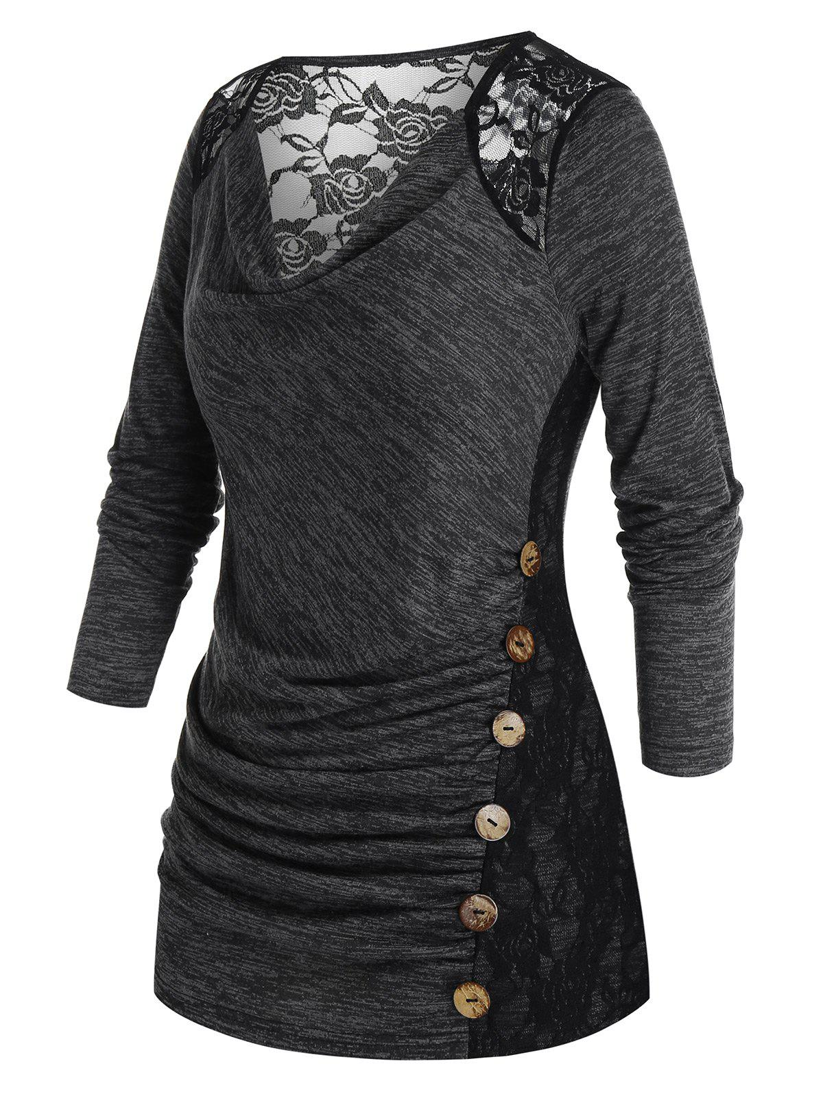 Plus Size Space Dye Lace Insert Sheer Long Sleeve Tee - CARBON GRAY 4X