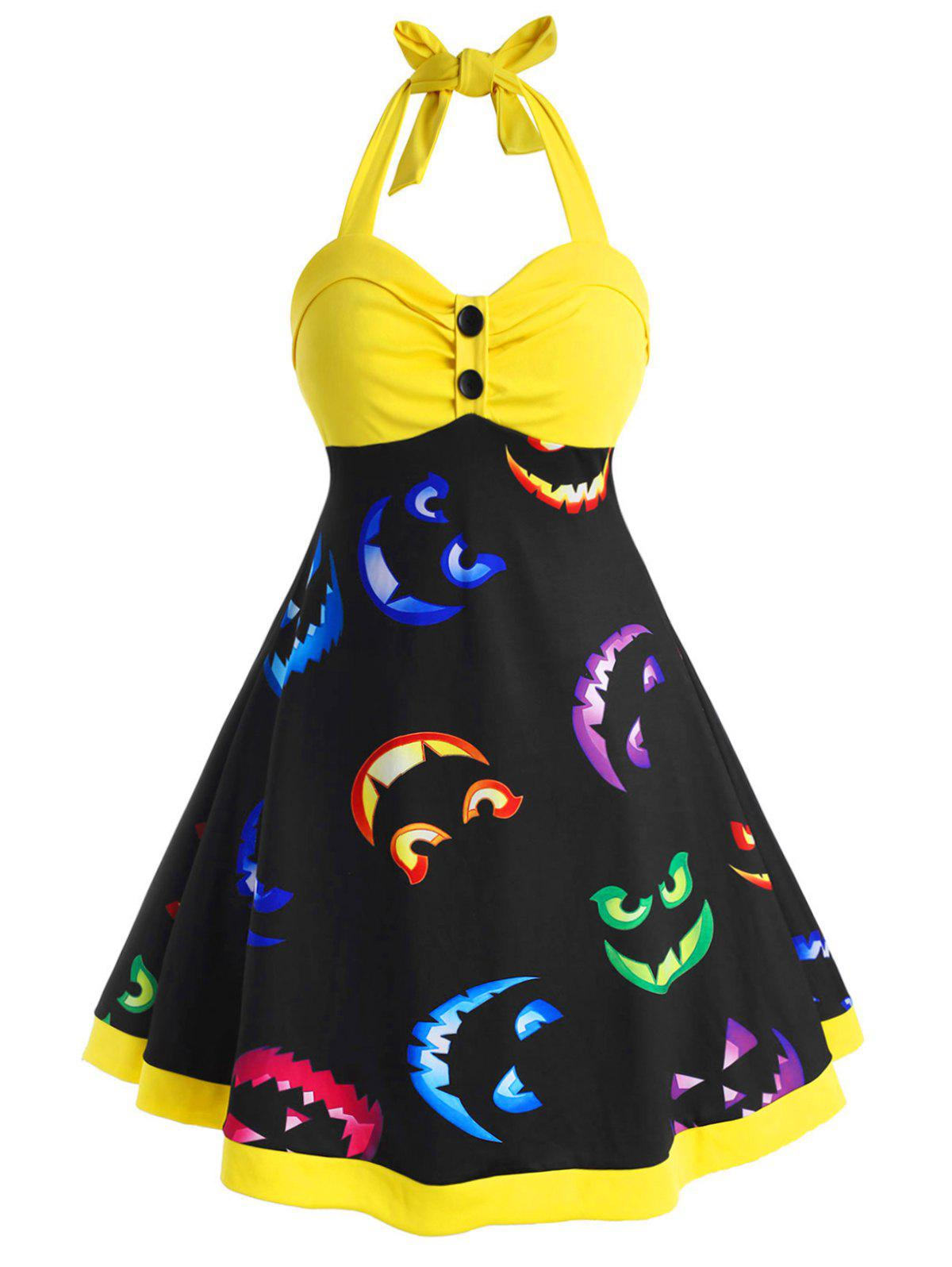 Halter Button Front Printed Halloween Plus Size Dress - YELLOW 1X