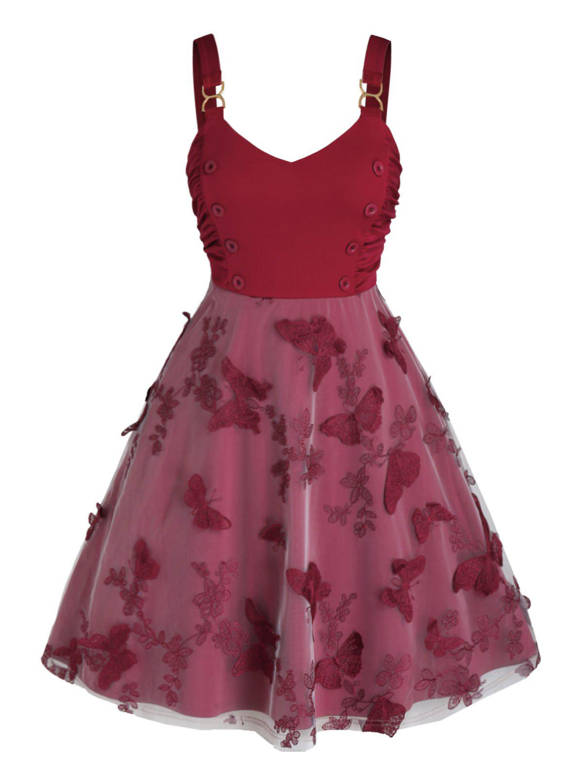 Plus Size Butterfly Embroidered Ruched Sailor Button Dress - RED WINE 5X