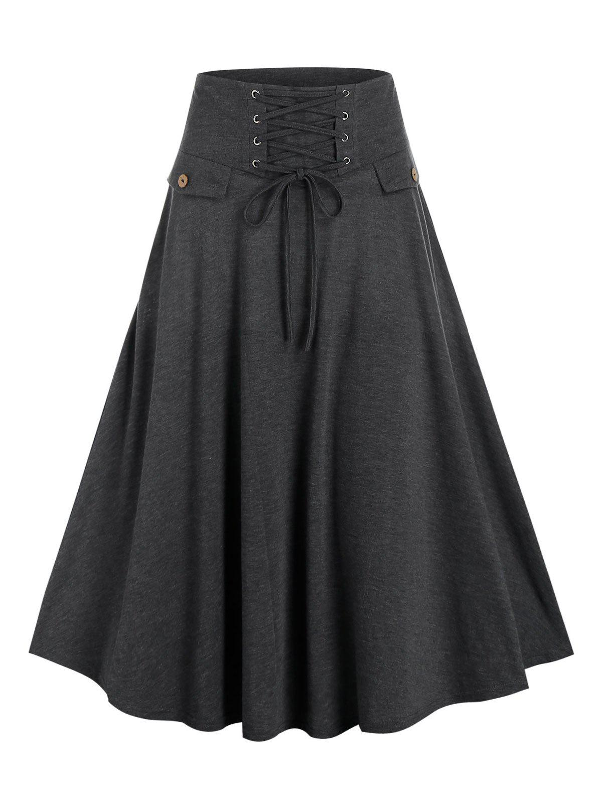 Lace-up Front Heathered Midi Skirt - ASH GRAY M
