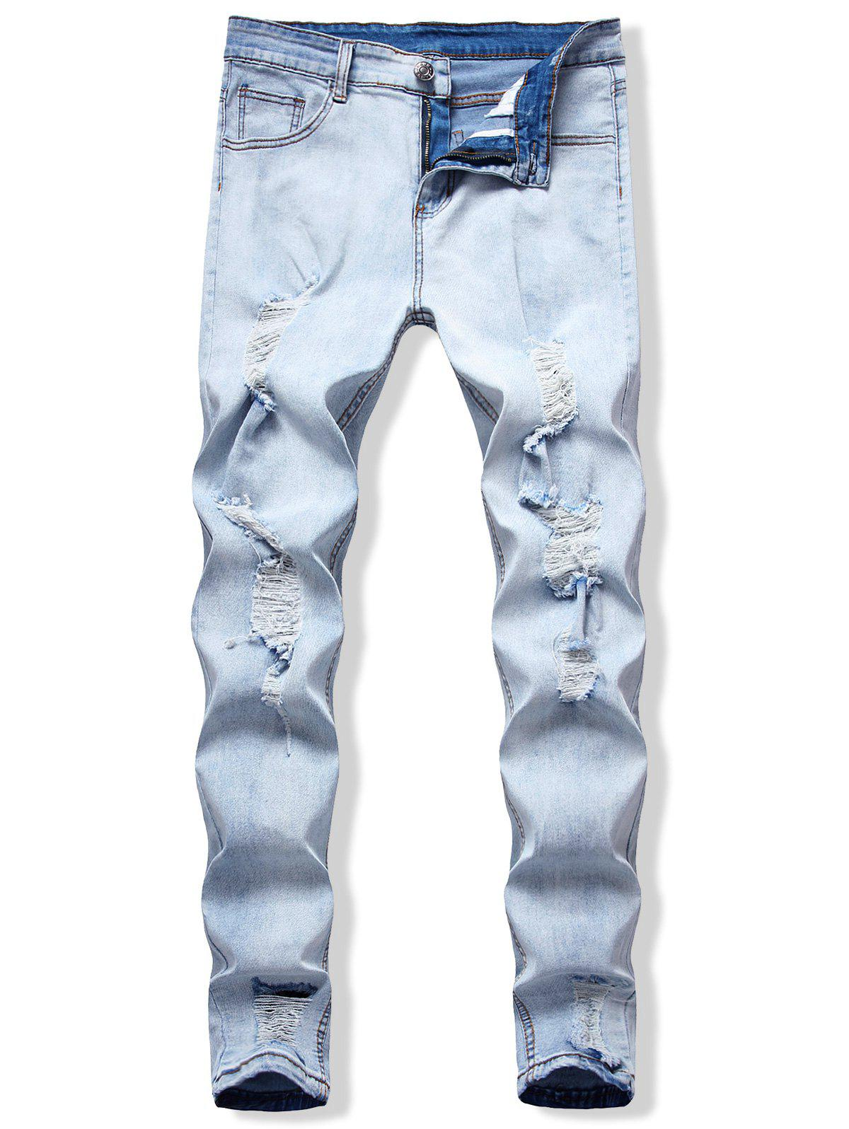 Casual Ripped Pencil Denim Pants - BLUE KOI S