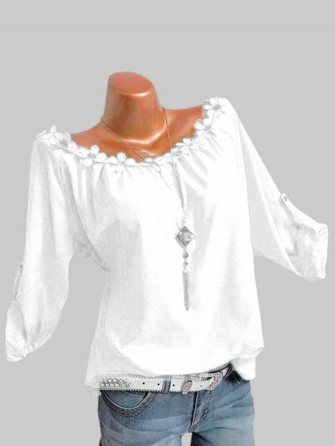 Plus Size Roll Up Sleeve Flower Trim Top