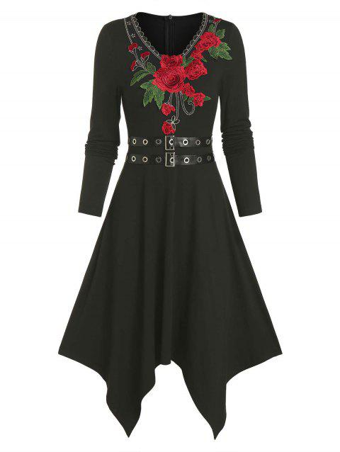 Floral Embroidery Dual Belts Asymmetrical Long Sleeve Dress