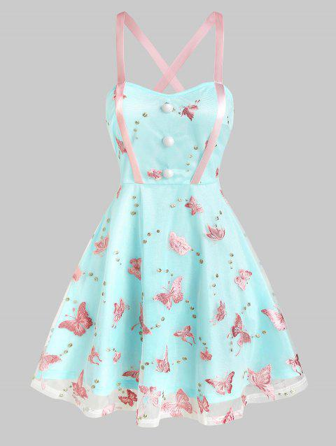 Sleeveless Butterfly Embroidered Mesh Skater Dress