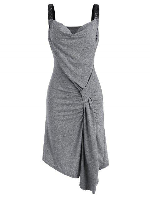 Rived Draped Front Faux Leather Straps Dress