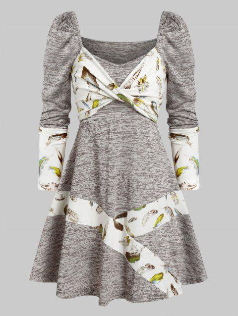 Long Sleeve Feather Print Twist Front Dress
