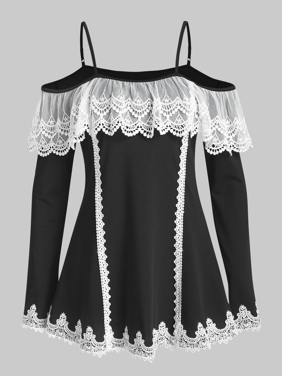 Exposed Shoulder Lace Panel Casual T Shirt - BLACK 2XL