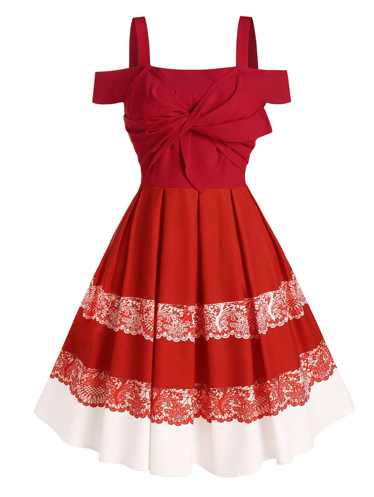 Cold Shoulder Acanthus Print Twist Front Pleated Dress - RED M