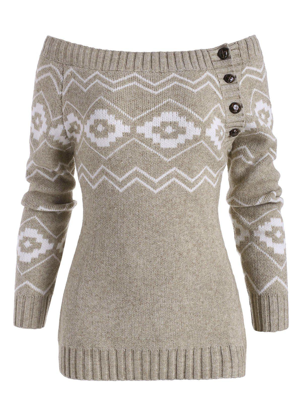 Off Shoulder Button Side Zig Zag Geometric Sweater - LIGHT COFFEE S