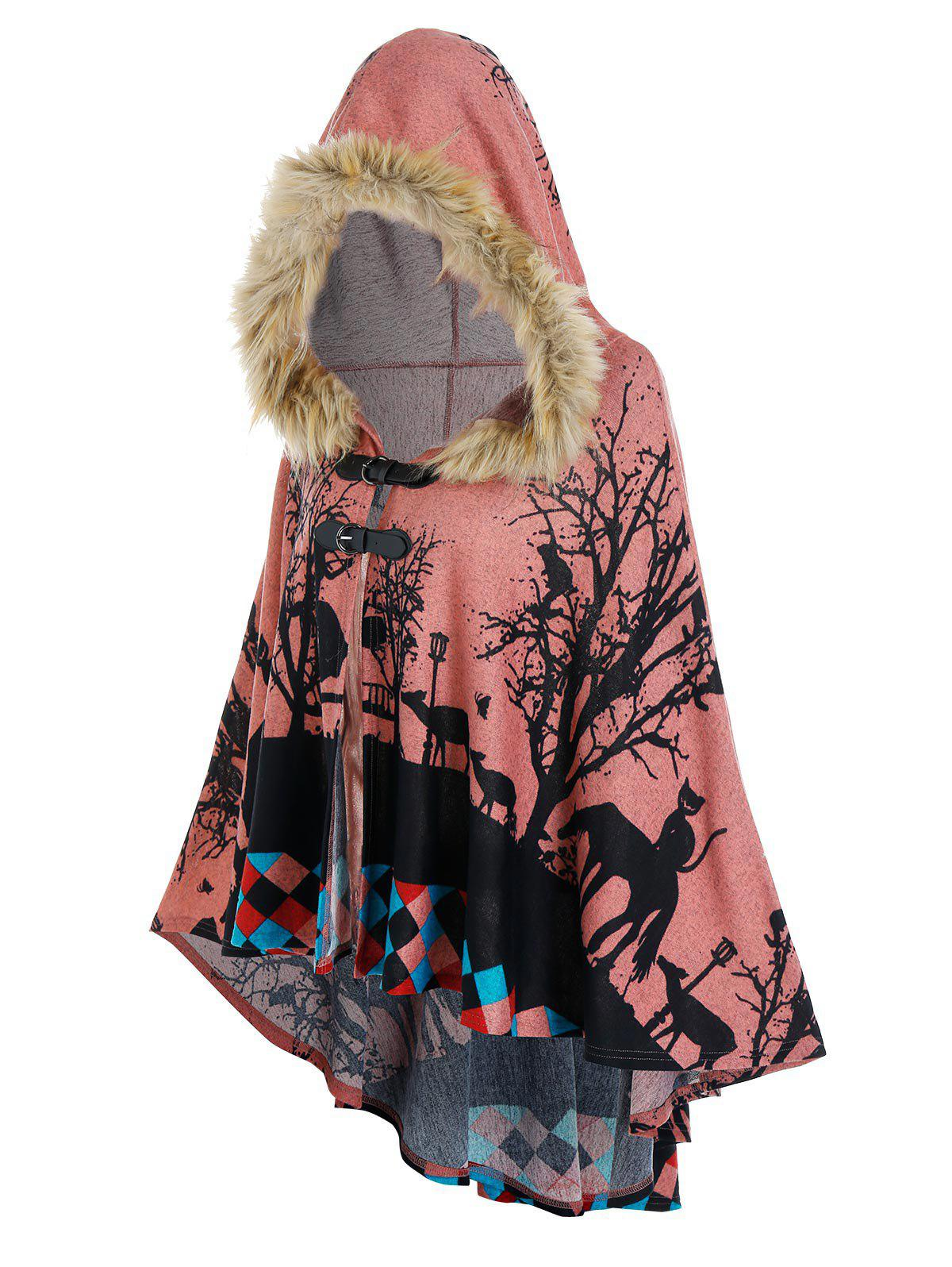 Hooded Forest Cat Print High Low Cape - LIGHT PINK XL