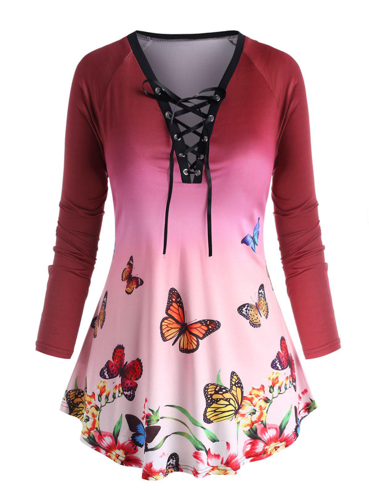 Plus Size Lace Up Butterfly Print T Shirt - DEEP RED 5X