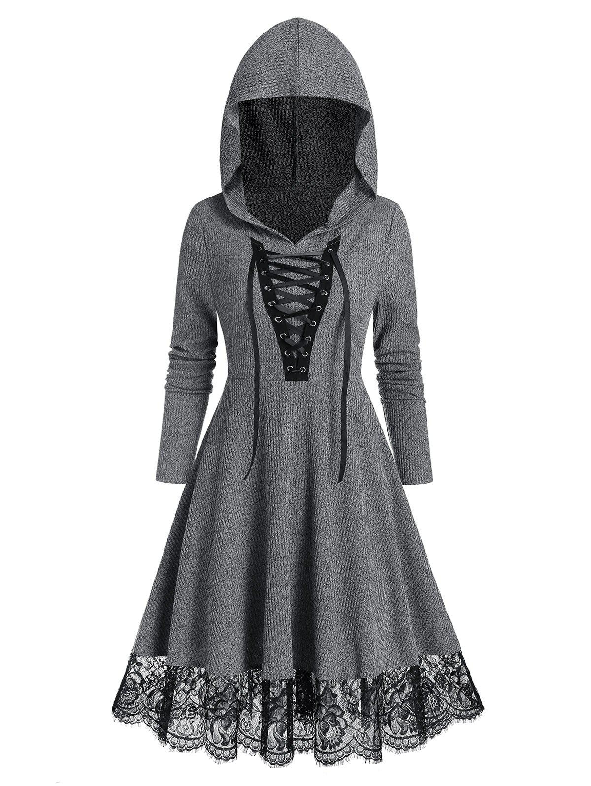 Lace Up Hooded Lace Hem Knitted A Line Dress - LIGHT GRAY L