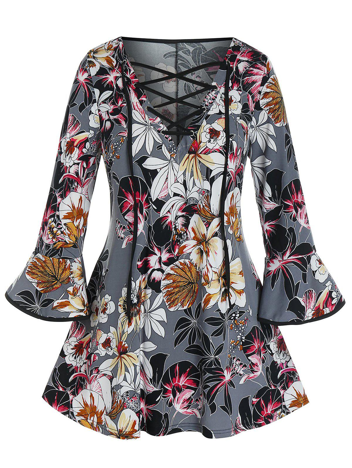 Plus Size Flower Lace-up Bell Sleeve Top - BATTLESHIP GRAY 3X