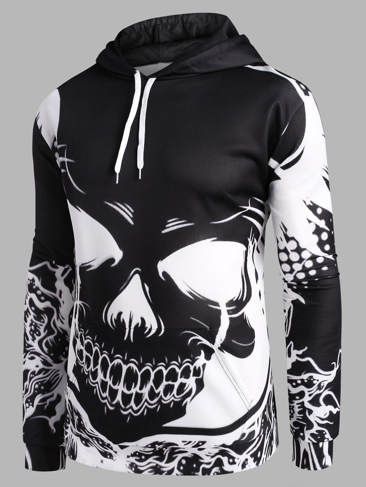 Bicolor Skull Graphic Front Pocket Drawstring Hoodie - multicolor L