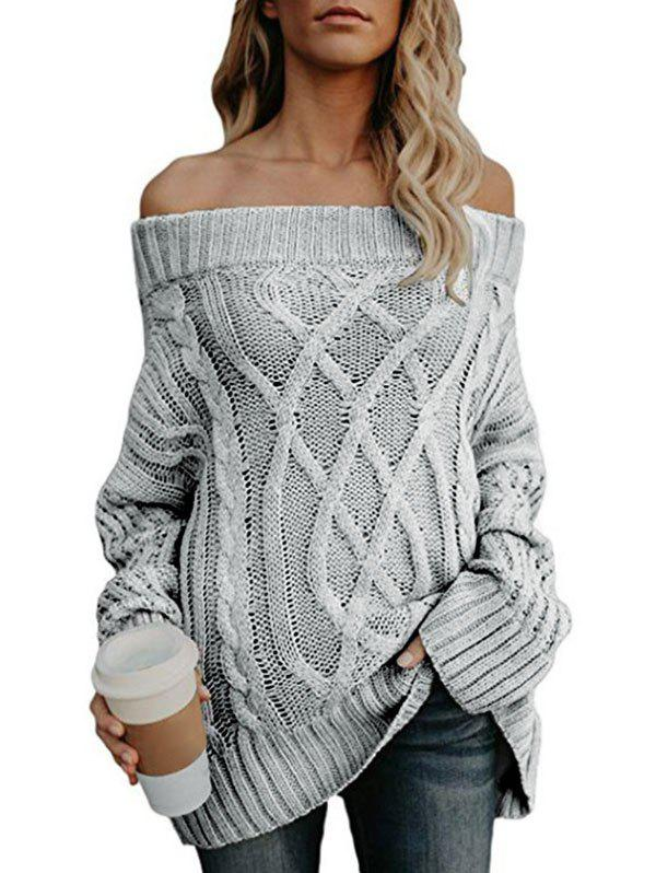 Off The Shoulder Cable Knit Chunky Tunic Sweater - LIGHT GRAY M