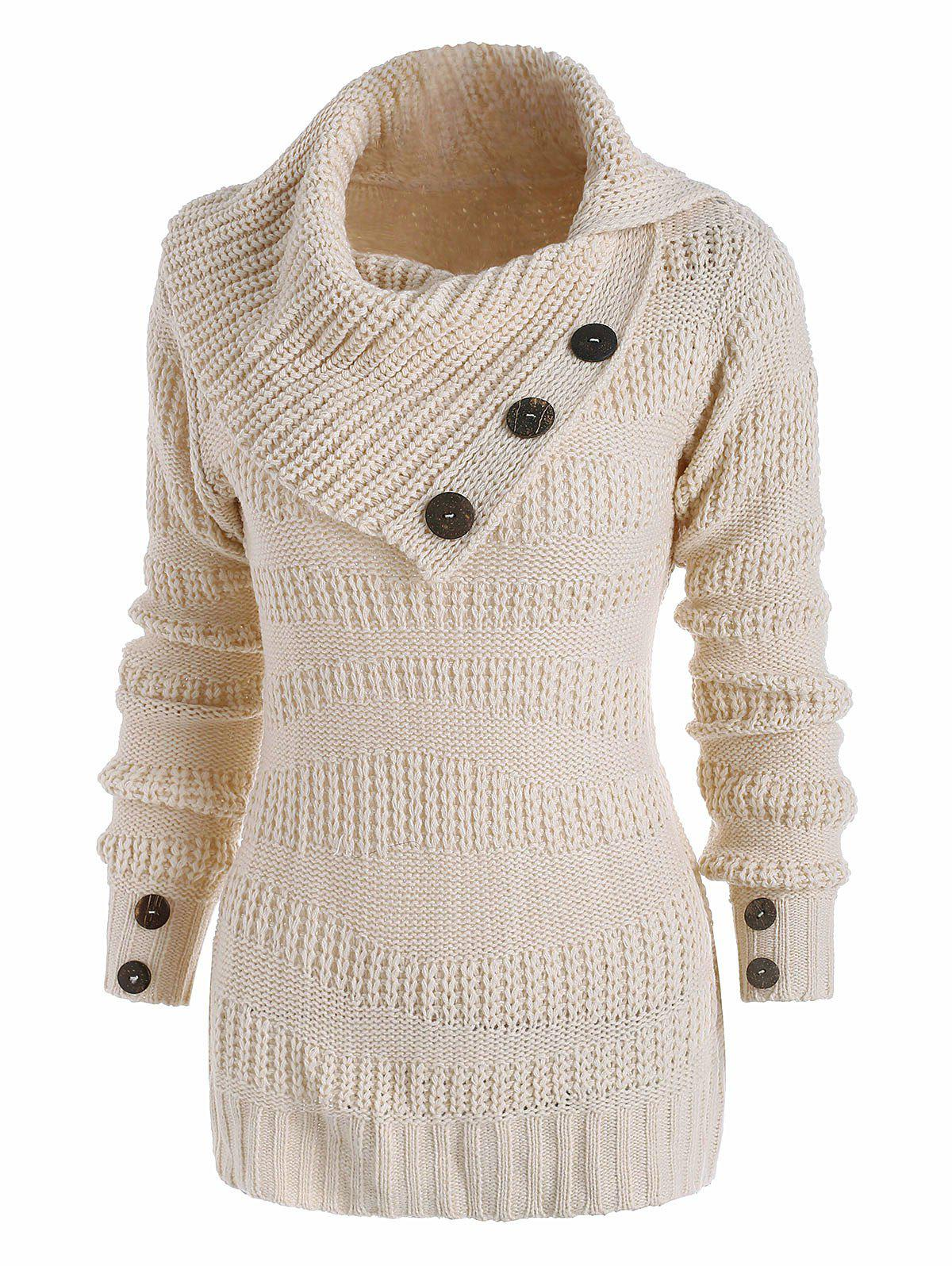 Mix Knit Irregular Turn Down Collar Mock Button Sweater - WHITE S