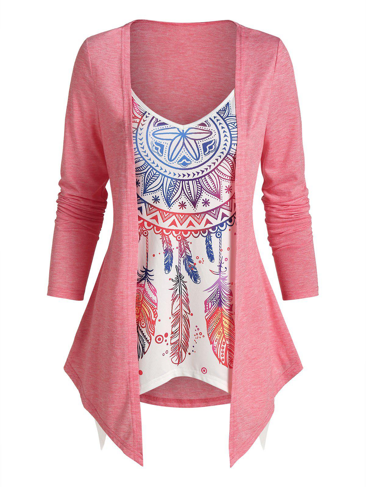 2 In 1 Dream Catcher Printed Top - PINK 3XL